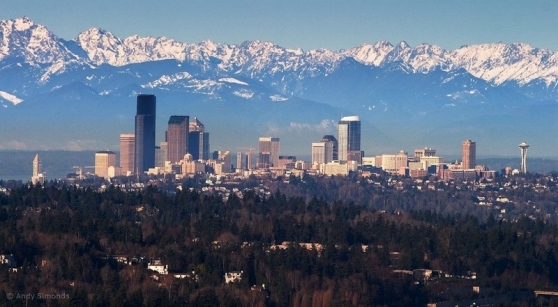 Seattle with Olympics, looking West